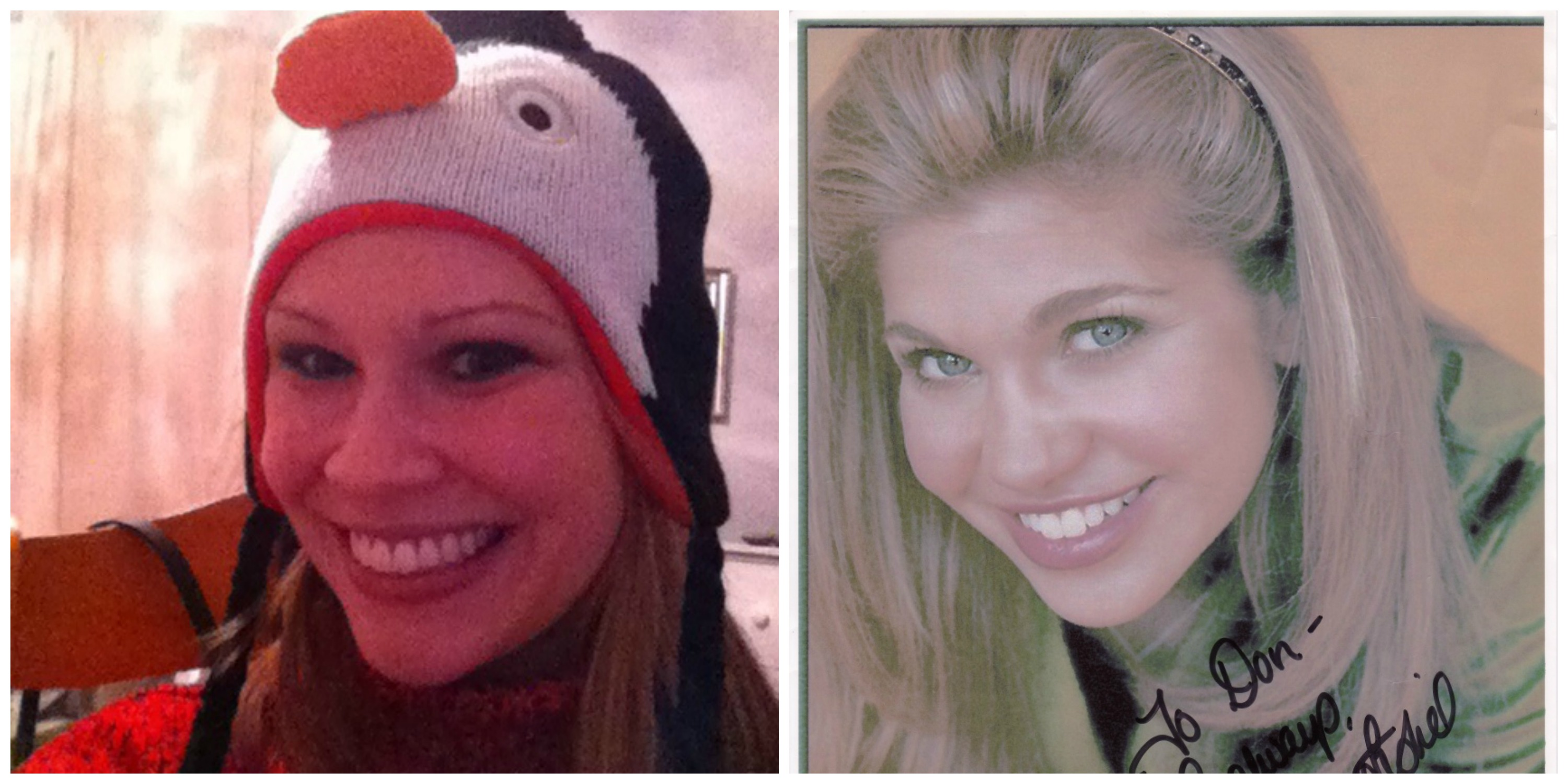 Imagine me with professional hair and makeup, or her in a penguin hat.