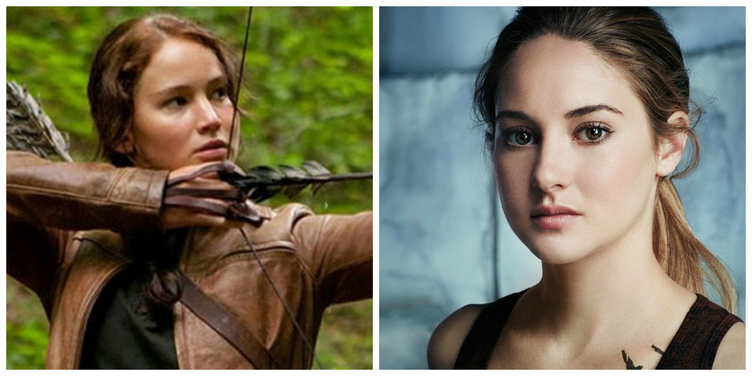 See that right there? Katniss takes aim, Tris looks pensive. KO, round 1.