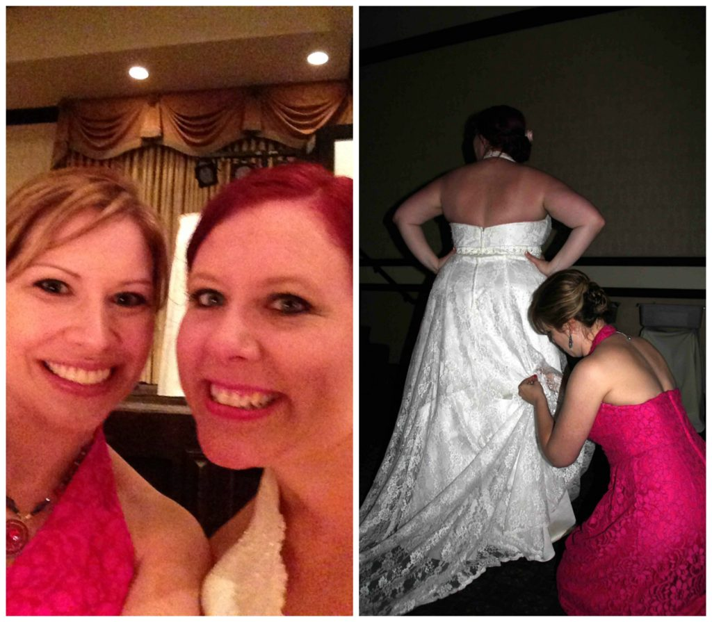 Bridal selfie on the left, bustle repair on the right. I'm the MacGyver of weddings.
