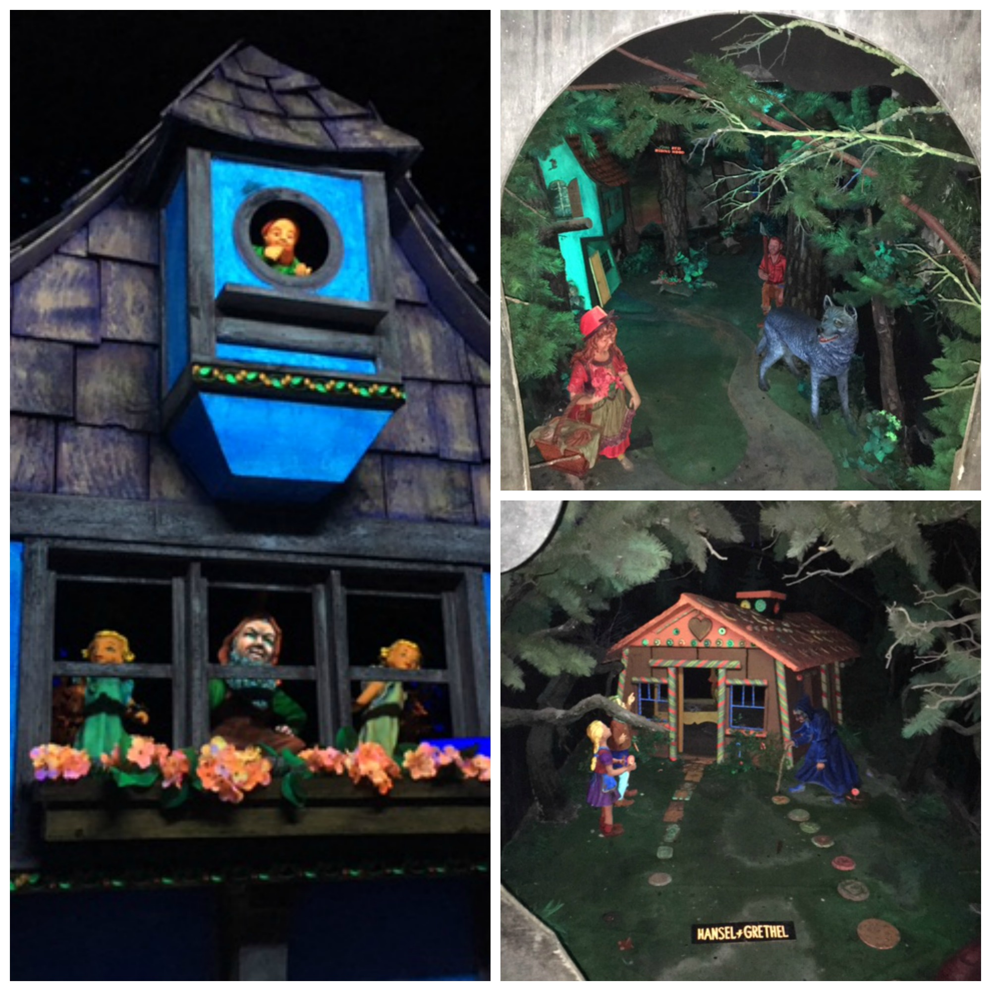 Super creepy black light dioramas.